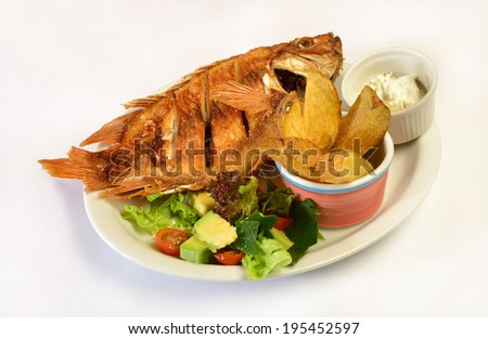 Colombian cuisine. Fried fish. - stock photo