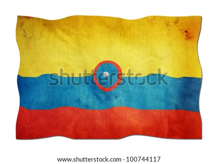 Colombian Flag made of Paper - stock photo