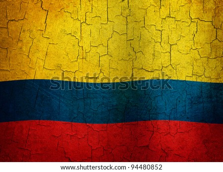 Colombian flag on a cracked grunge background - stock photo