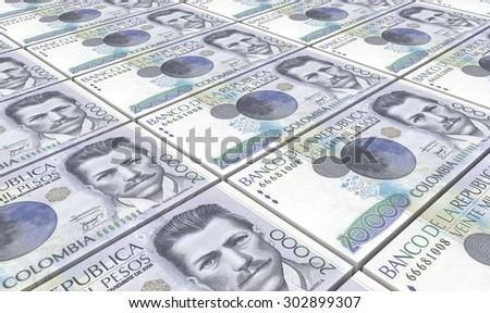 Colombian pesos bills stacks background. - stock photo