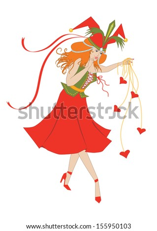 Colombine plays with the hearts - stock photo