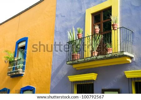 Colonial architecture in  Puebla (Mexico) - stock photo