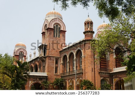 Colonial building of the University of Madras in Chennai, Tamil Nadu, India - stock photo
