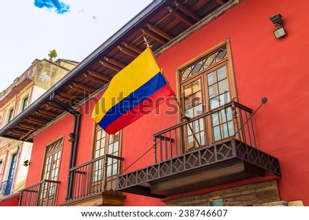 Colonial house in Candelaria, Bogota, Colombia - stock photo