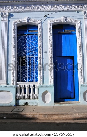 Colonial house in Remedios, Cuba - stock photo