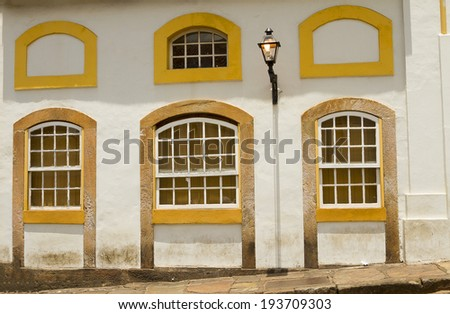Colonial house of historic Ouro Preto city, Brazil. - stock photo
