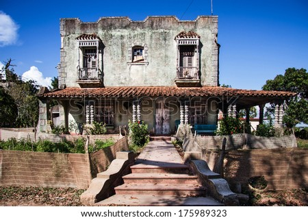 colonial house residential, Cuba - stock photo