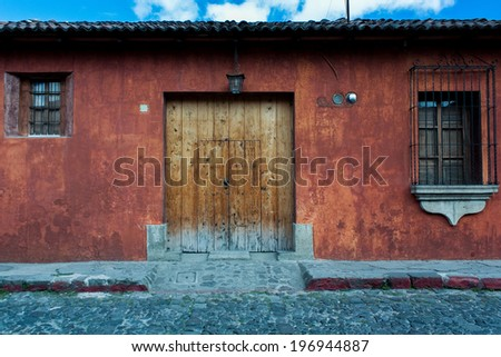 Colonial house well refurbished Antigua Guatemala - stock photo