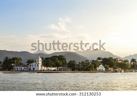 Colonial houses of Paraty. Paraty is a preserved Portuguese colonial and Brazilian Imperial municipality of Rio de Janeiro State. - stock photo