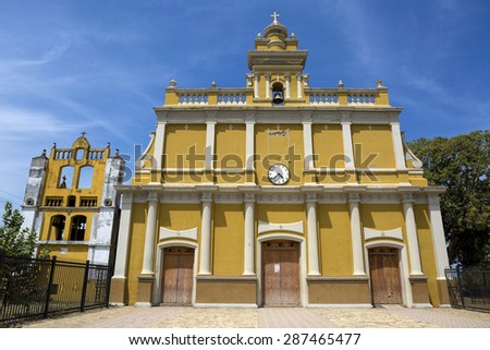 colonial spanish church in a small town in Nicaragua - stock photo