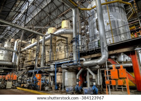 Colonial style sugar factory in Gondang Baru, Java, Indonesia - stock photo