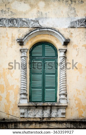 Colonial Window in Hanoi, Vietnam - stock photo