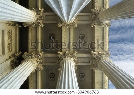 Colonnade and the ceiling of the Kazan Cathedral  in Saint-Petersburg, Russia (soft focus processing) - stock photo