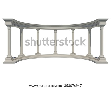 Colonnade in the classic style. Isolated on White - stock photo