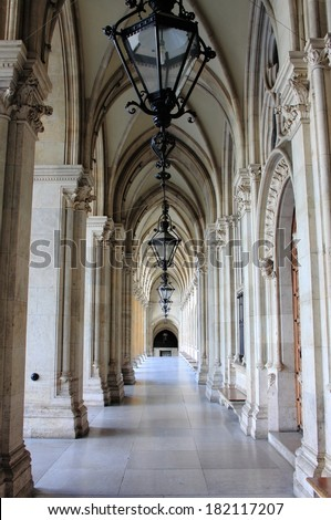 Colonnade in Vienna City Hall building. Austria - stock photo
