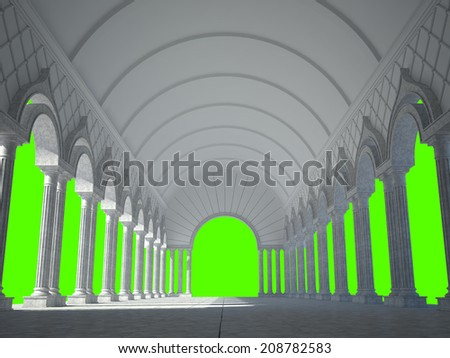 Colonnade of ancient columns. Isolated on green - stock photo