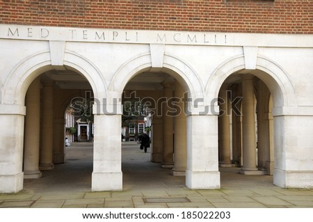 Colonnade of Middle Temple, Inns of Court, London - stock photo