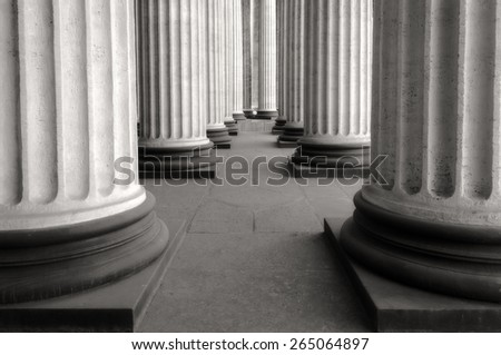 Colonnade of the Kazan Cathedral (b/w and soft focus processing) - stock photo