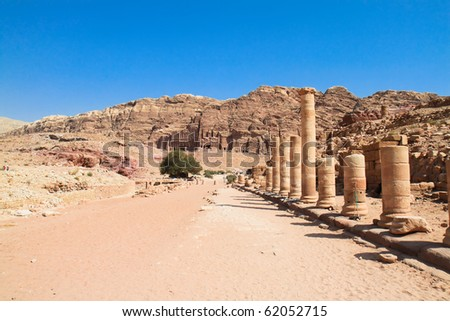 Colonnaded street in ancient city of Petra, Jordan. It is now an UNESCO World Heritage Site. Petra, Jordan - stock photo