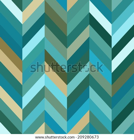 Color Abstract Retro  Striped Background, Fashion Zigzag Seamless Pattern of Turquoise Stripes - stock photo