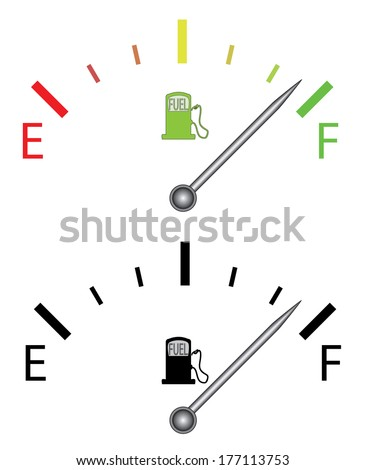 Color and black and white fuel gauges design. - stock photo