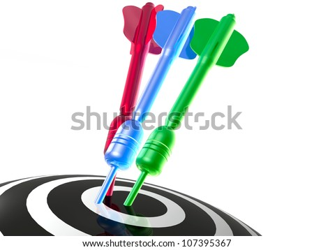 Color arrows on the target, white background. - stock photo
