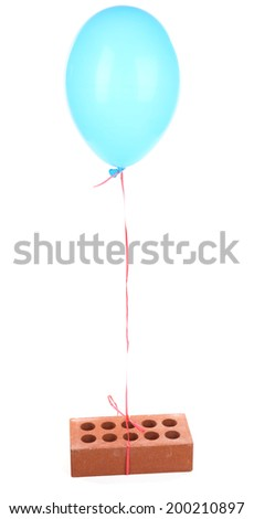 Color balloon with brick, isolated on white - stock photo