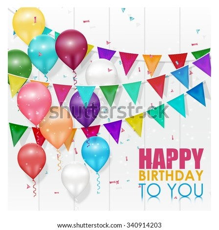 Color balloons Happy Birthday on white background - stock photo