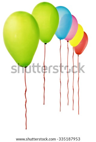 Color balloons isolated on white. Soft focus. - stock photo