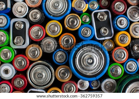Color batteries of different sizes - stock photo