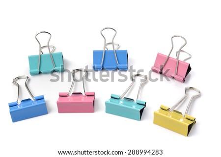 Color binder clips. Illustration on white background for design - stock photo