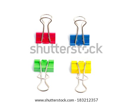 color binder clips isolated on white backgroundcolor binder clips isolated on white background - stock photo