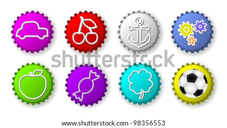 Color bottle caps with figures - stock photo