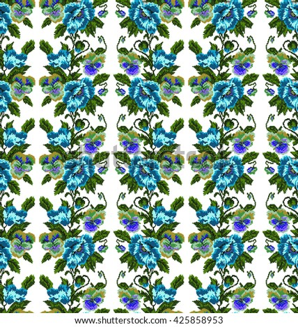 Color  bouquet of flowers (poppies and pansies) using traditional Ukrainian embroidery elements.Blue, dark blue,violet and green tones. Seamless pattern. Can be used as pixel-art.  - stock photo