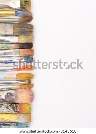 color brushes on white background - stock photo