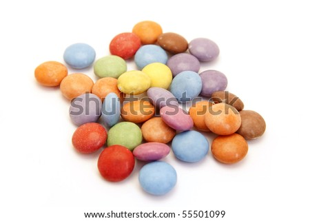 color candies isolated on white - stock photo