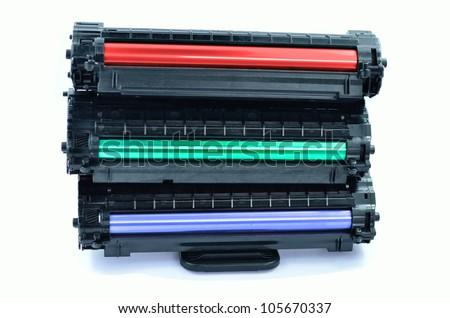 color cartridges for laser printers - stock photo