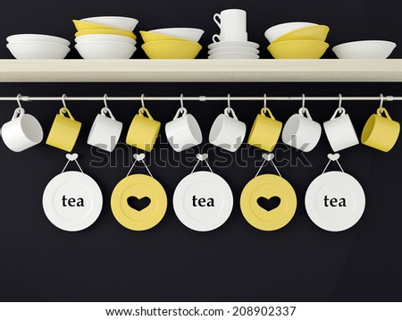 Color ceramic kitchenware on the shelf in front of black wall. - stock photo