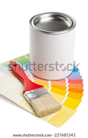 Color chart guide with brush and paint bucket on white background - stock photo