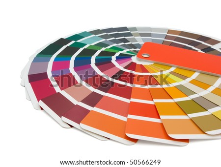 Color chart of paints isolated on white - stock photo