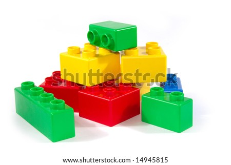 color childish blocks to the building - stock photo