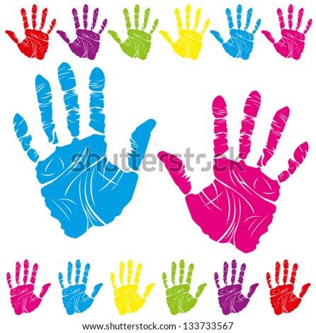 color children and parents hand print means different symbols - stock photo
