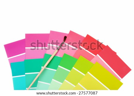 color chips with paint brush - stock photo