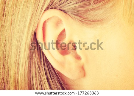 Color closeup picture of blond girl ear - stock photo
