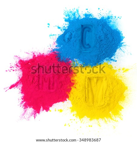 Color copier toner cyan magenta yellow isolated on white - stock photo