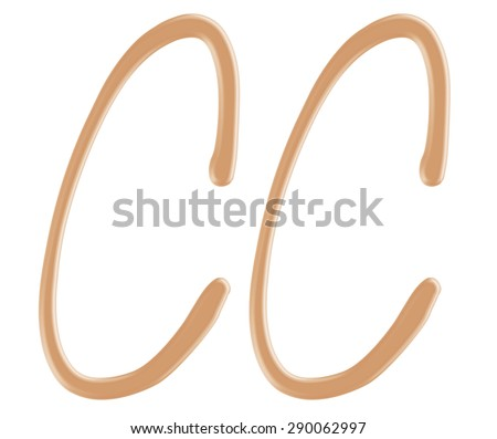 Color correcting cream foundation in CC character style on isolated background. - stock photo