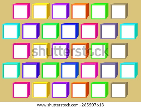 Color cubes with a white windows on a beige background - stock photo