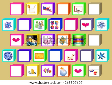 Color cubes with windows for drawings on a beige background - stock photo