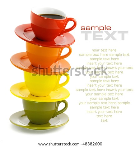 Color cups on a white background. With sample text - stock photo