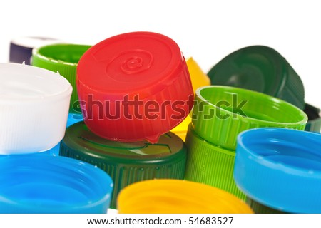 Color cups on the white background - stock photo